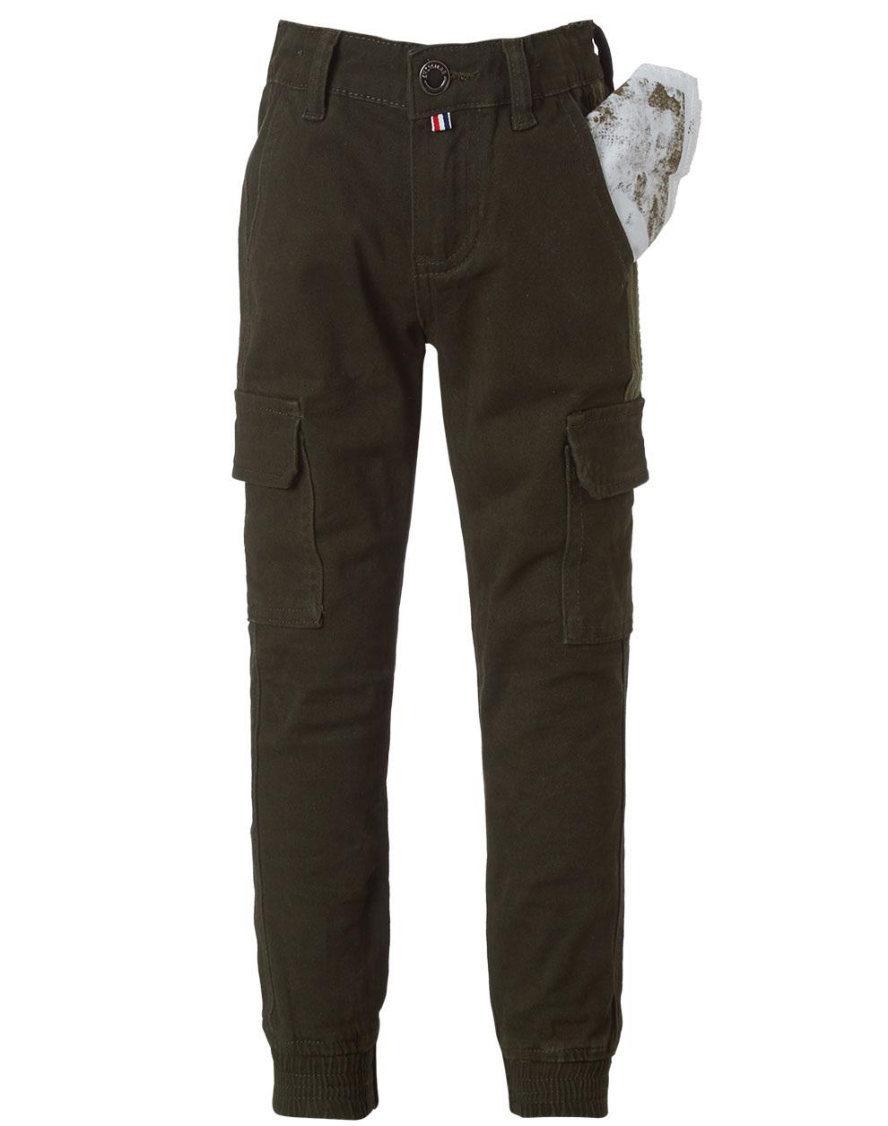 Ελαστικό παντελόνι cargo με λάστιχο στο πόδι 13-119007-2 - Λαδί - 16065-6/12/22/108