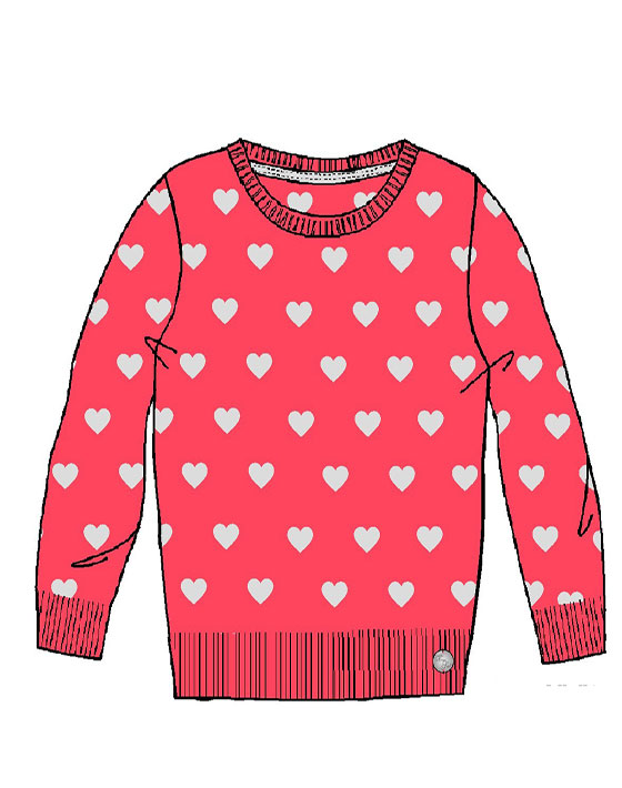 Πουλόβερ με τύπωμα καρδιές 15-116302-6 - Κοραλλί - 6086-045/12/201/288