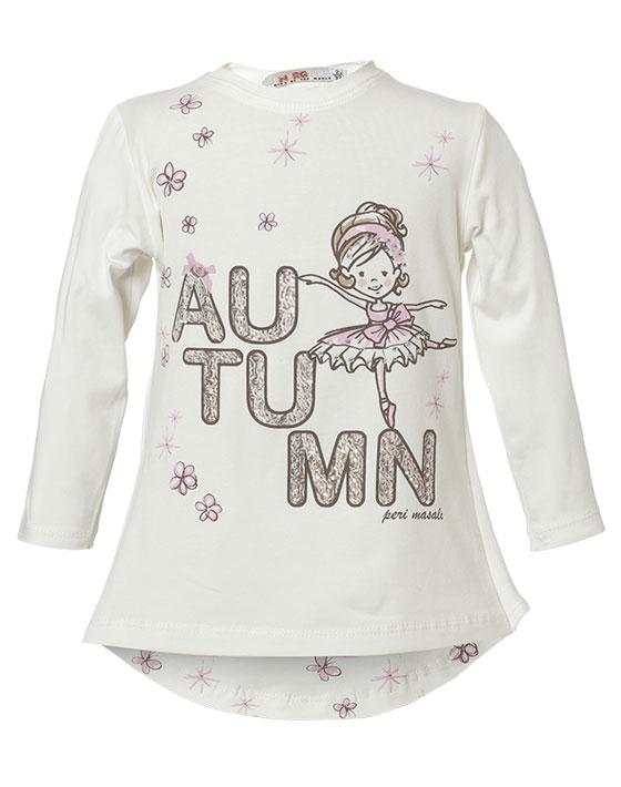 Μπλούζα με τύπωμα Autumn και διακοσμητικό φιόγκο στην πλάτη 15-117351-5 - Εκρού - 9178-016/12/158/287