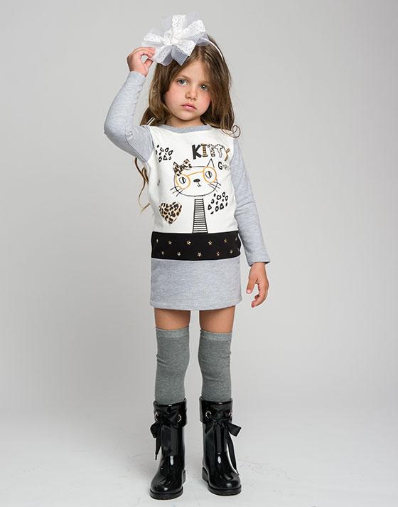 Φόρεμα φούτερ με τύπωμα γατούλα 15-116319-7 - ΜΕΛΑΝΖΕ - 6130-043/12/295/287
