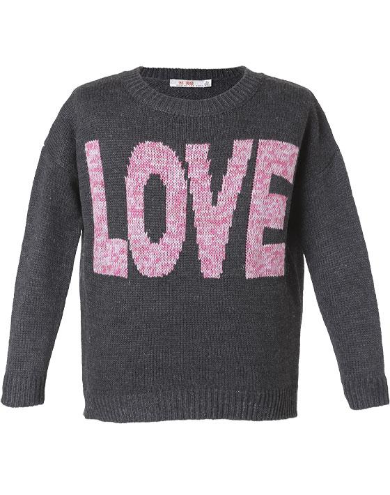 Πουλόβερ με τύπωμα Love 16-116205-6 - Ανθρακί - 6244-002/12/197/175