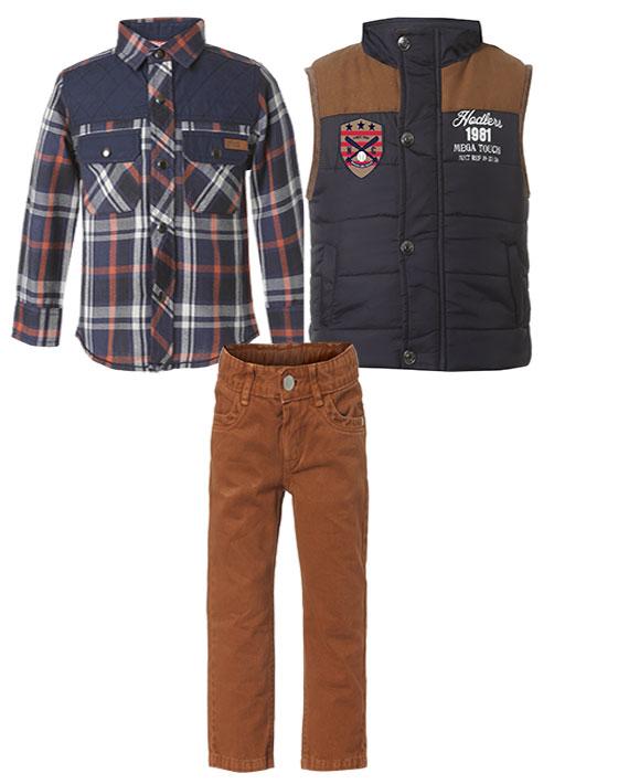 Σετ 3 τμχ, πουκάμισο καρρώ, παντελόνι ύφασμα καμβάς και αμάνικο γιλέκο 12-118106-0 - ΠΑΠΡΙΚΑ - 11451-136/12/330/104
