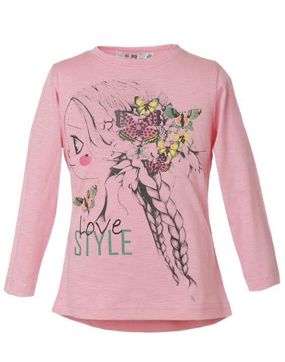 Μπλούζα με τύπωμα κοριτσάκι με πεταλούδες 15-116321-5 - ΦΡΑΟΥΛΑ - 6117-050/12/298/109