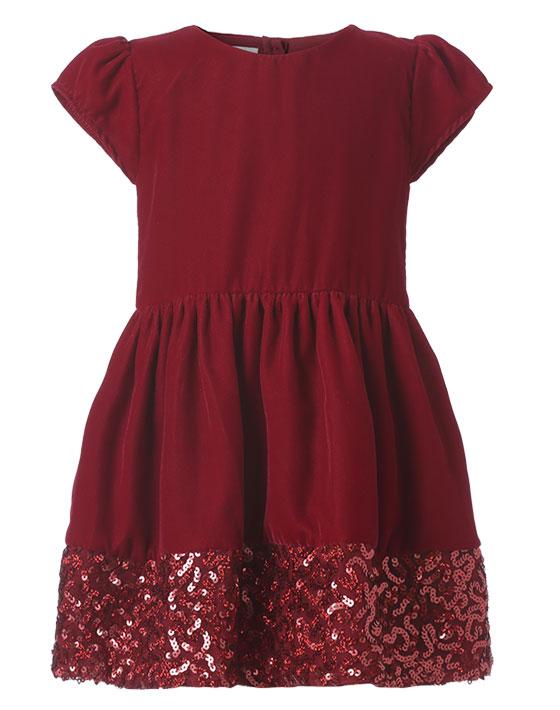 Φόρεμα βελουτέ με διακοσμητικές παγιέτες στον ποδόγυρο 45-118370-7 - Μπορντώ - 11528-003/12/146/109