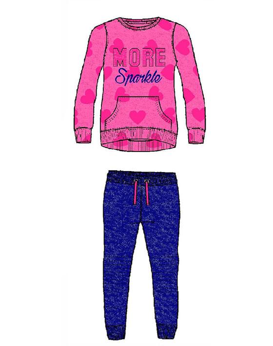Φόρμα παντελόνι φούτερ και μπλούζα με τύπωμα καρδιές 16-118244-0 - Μπλε - 11870-057/12/10/116