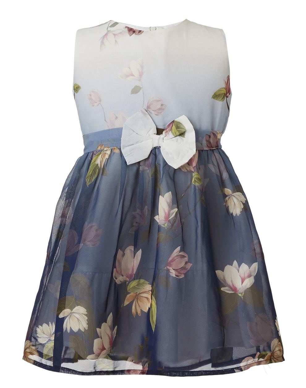 3fe5d10da78 Pitsiriki Φόρεμα ύφασμα σιφόν με φλοράλ μοτίβο και διακοσμητικό φιόγκο στη  μέση 46-219286-7