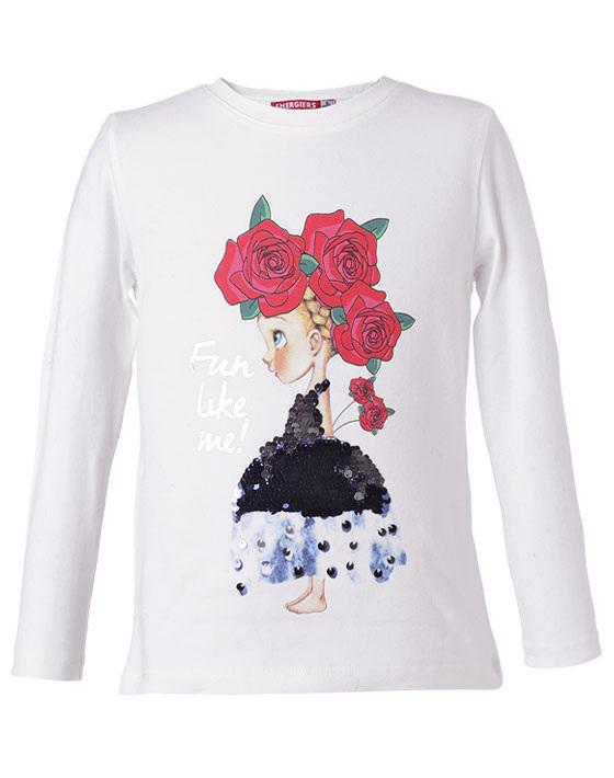 Μπλούζα με τύπωμα κοριτσάκι με φόρεμα από παγιέτες 15-118306-5 - Εκρού - 3542-16/12/158/109