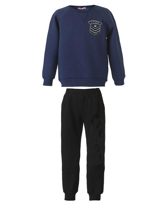 Φόρμα φούτερ με διακριτικό τύπωμα στην μπλούζα 13-118090-0 - Μαύρο - 12631-10/12/1/106