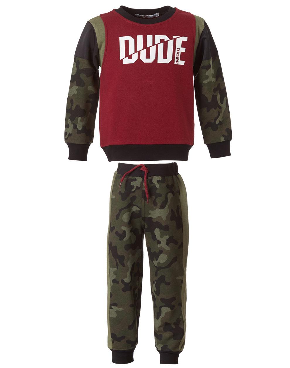 Φόρμα φούτερ με τύπωμα και παντελόνι παραλλαγής (army) 12-119140-0 - Χακί - 15600-7/12/143/109