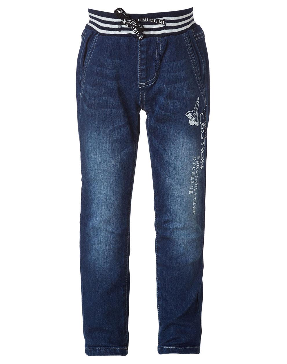 Ελαστικό βαμβακερό τζιν παντελόνι με λάστιχο στη μέση 12-119103-2 - ΜΠΛΕ ΤΖΗΝ - 15555-146/12/300/102