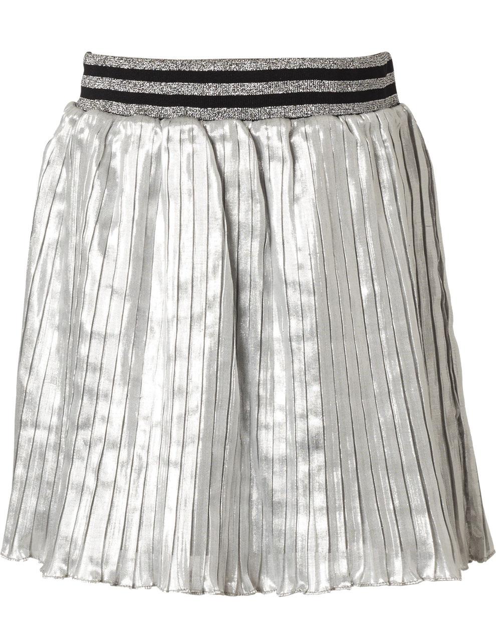 Πλισσέ φούστα με λάστιχο στη μέση 16-119200-3 - Ασημί - 15828-91/12/141/111