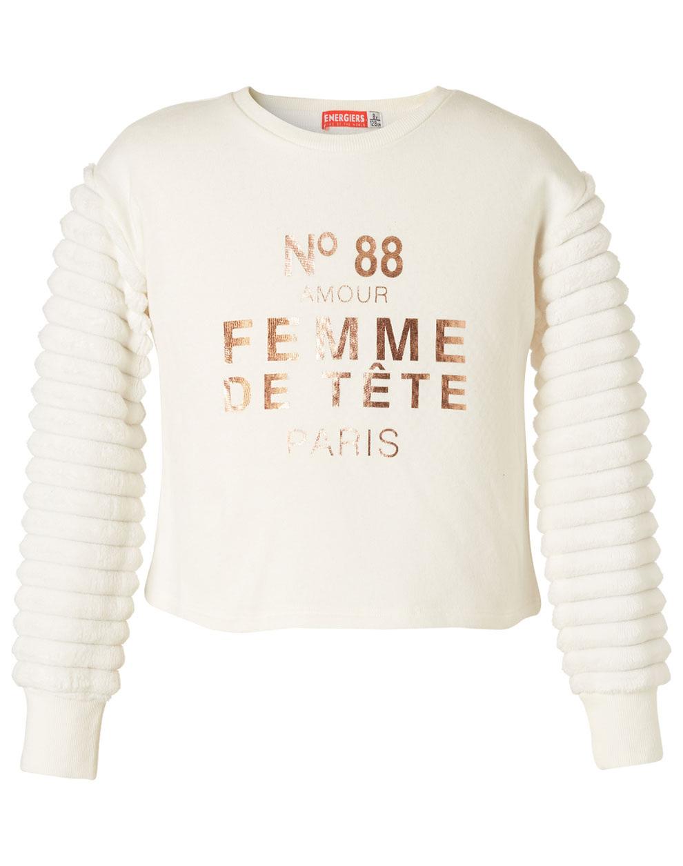 Φούτερ μπλούζα με γούνινα μανίκια 16-119261-5 - Εκρού - 15950-16/12/158/108