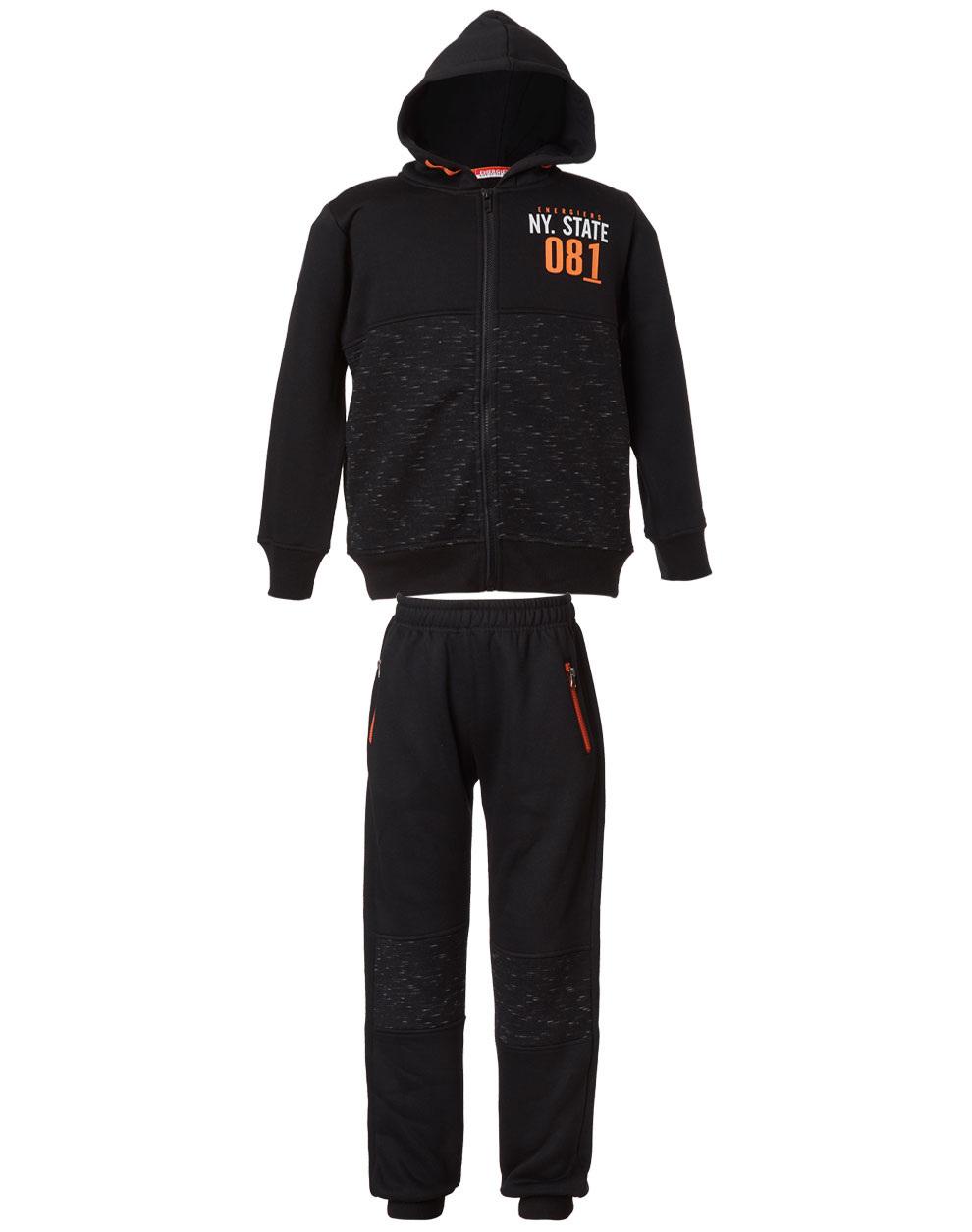 Φόρμα ζακέτα και παντελόνι φούτερ με patches στο γόνατο 13-119031-0 - Μαύρο - 16089-10/12/1/106