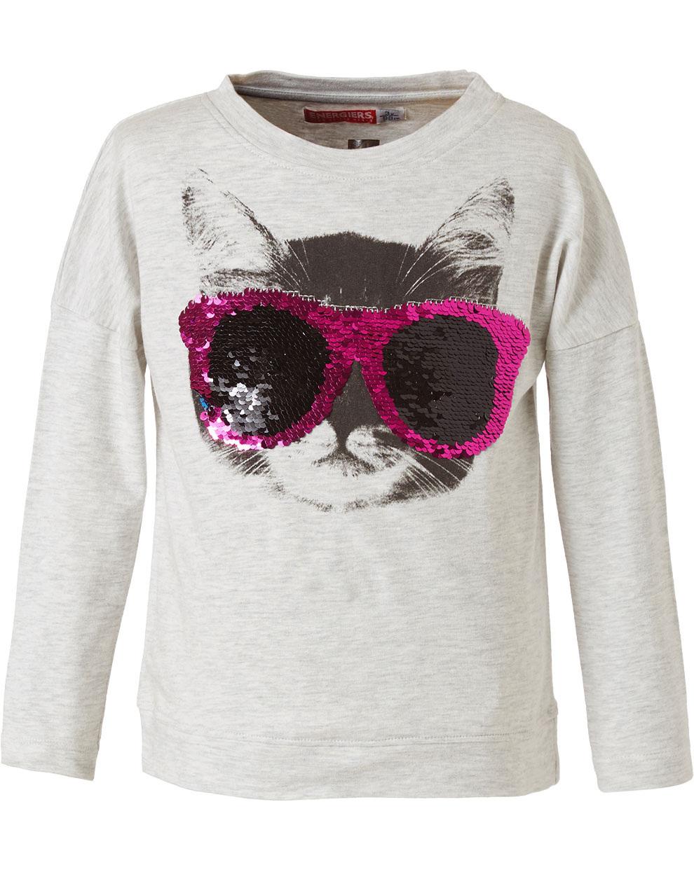 Ελαστική μπλούζα με παγιέτες που αλλάζουν 15-119321-5 - ΜΕΛΑΝΖΕ - 15750-42/12/295/109