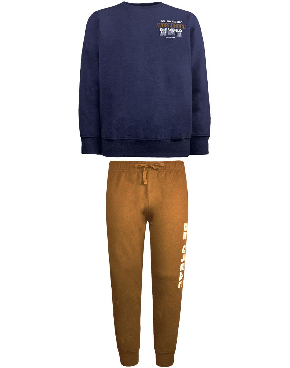 Φόρμα φούτερ βαμβακερή με τύπωμα στο παντελόνι 13-120086-0 - ΤΑΜΠΑ - 17908-37/12/327/106
