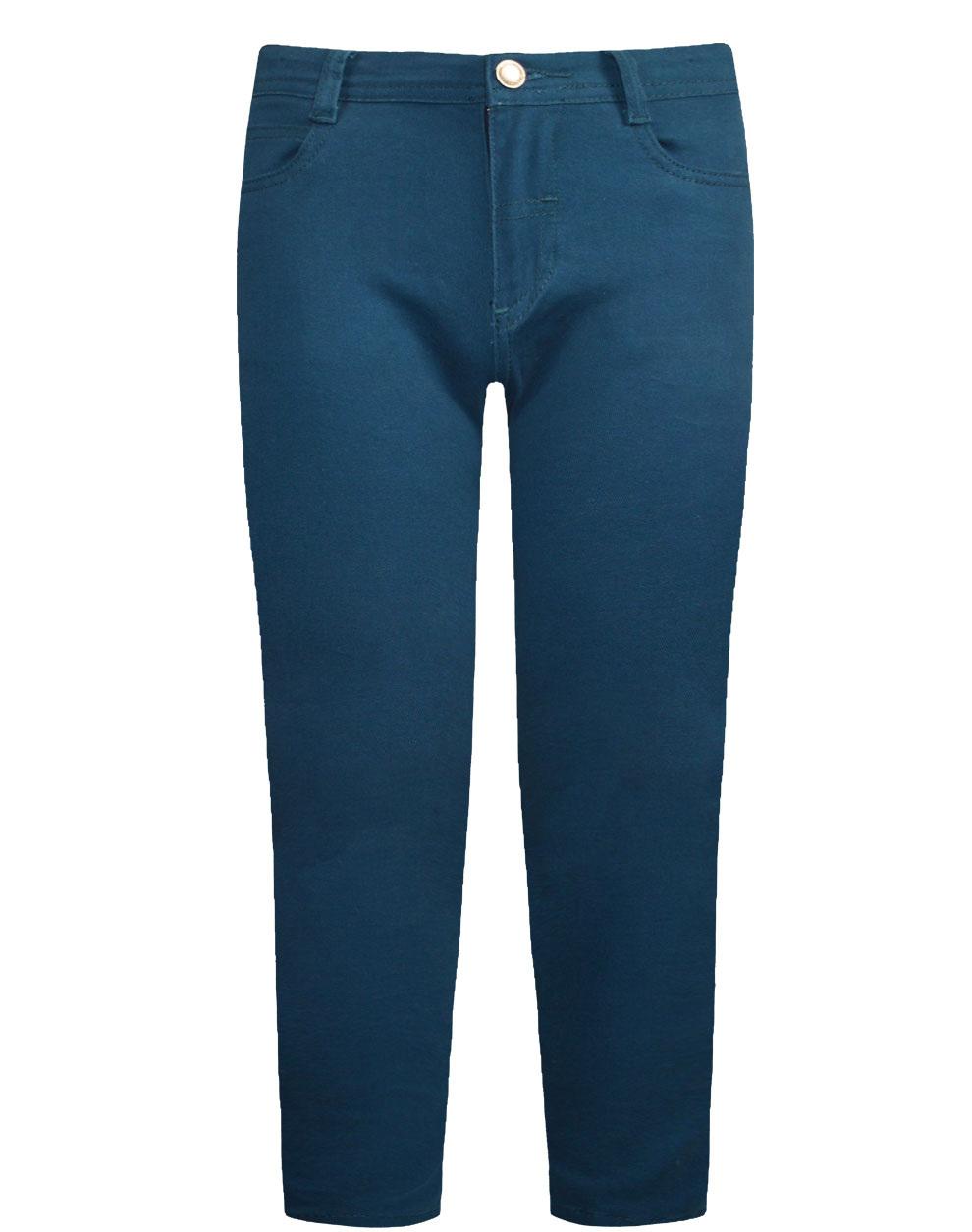 Πεντάτσεπο παντελόνι ελαστικό μονόχρωμο από σταθερό ύφασμα καμβάς 12-120108-2 - Πετρόλ - 18136-12/12/225/109