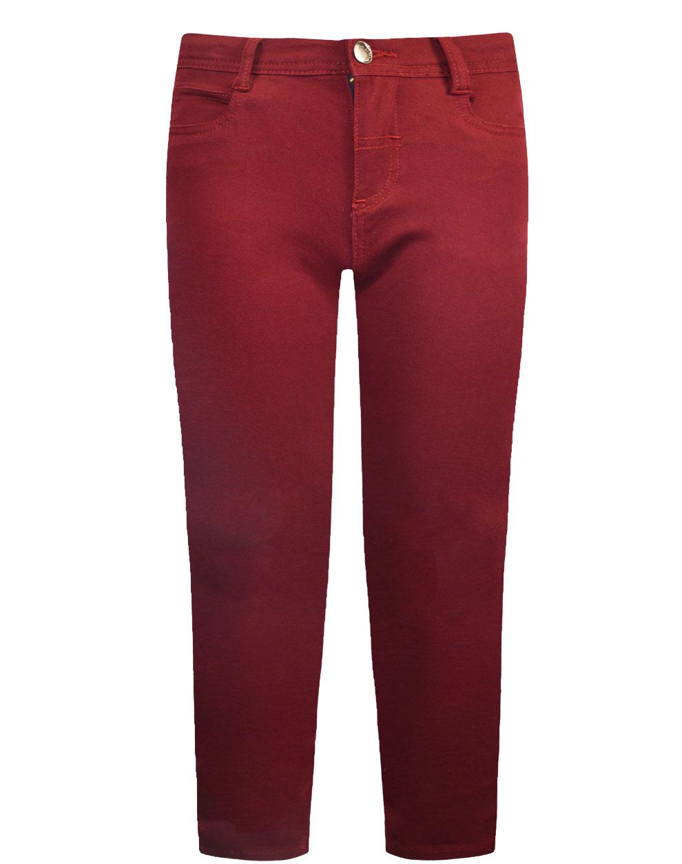 Πεντάτσεπο παντελόνι ελαστικό μονόχρωμο από σταθερό ύφασμα καμβάς 12-120108-2 - Μπορντώ - 18136-3/12/146/102