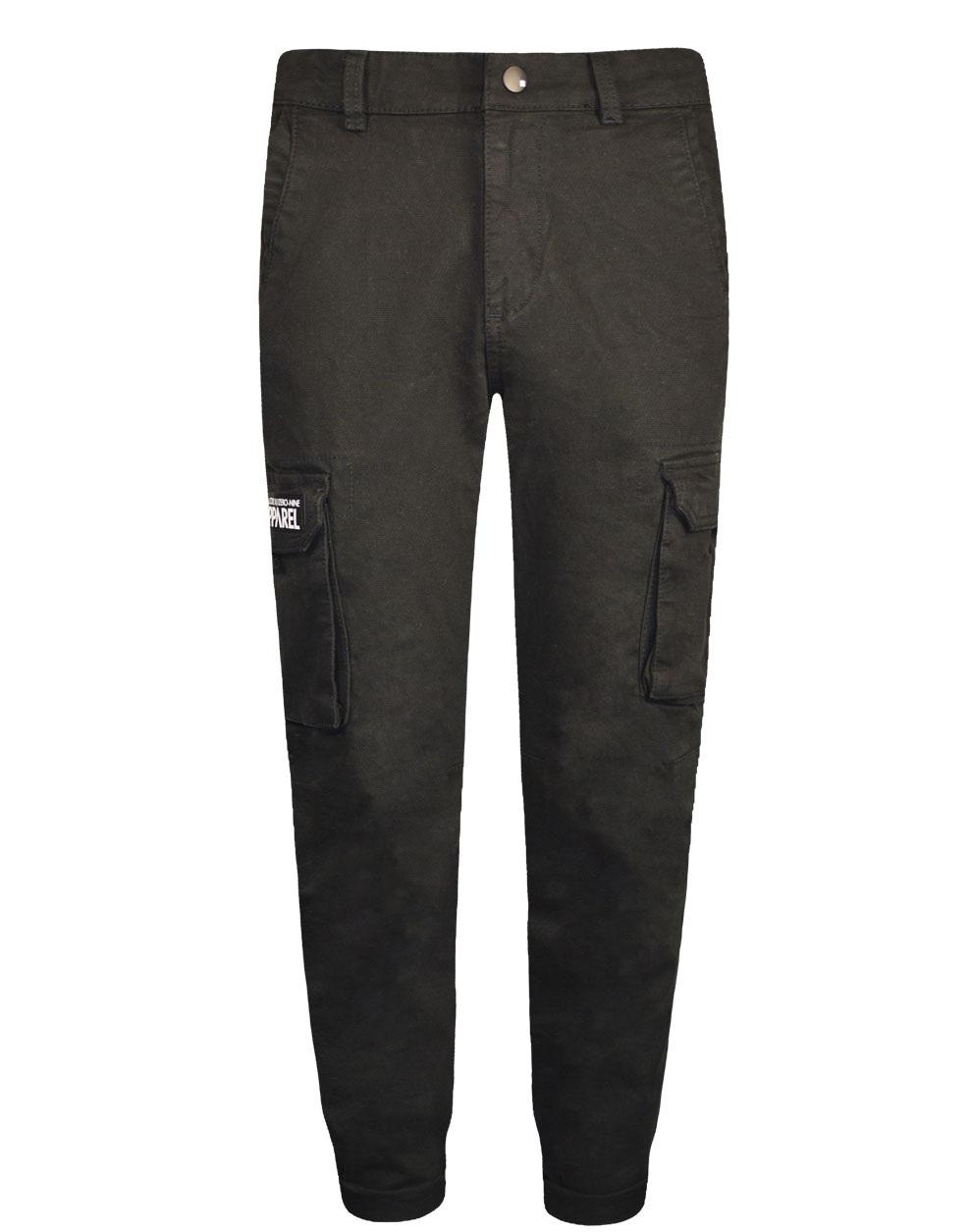 Ελαστικό παντελόνι cargo με εξωτερικές πλαϊνές τσέπες σταθερό ύφασμα καμβάς 13-120016-2 - Μαύρο - 18740-10/12/1/106