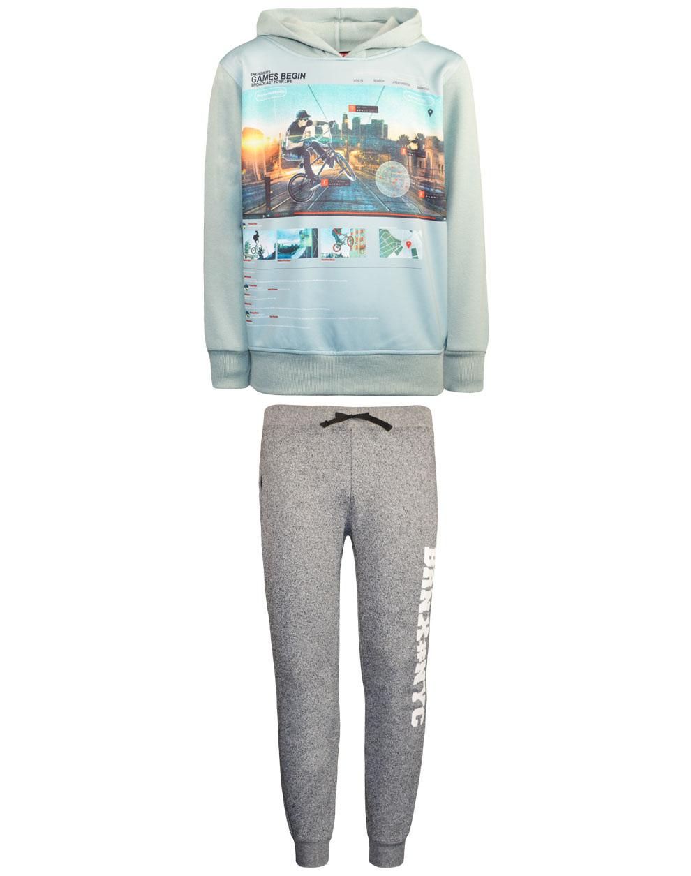 Φόρμα μπλούζα φούτερ με κουκούλα και παντελόνι με πλαϊνό τύπωμα 13-120045-0 - Μαύρο - 17883-10/12/1/108