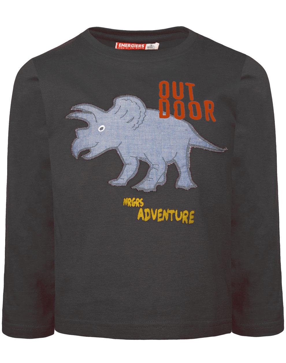 Μπλούζα βαμβακερή με απλικέ chambray ύφασμα σχέδιο ρινόκερος 12-120131-5 - Ανθρακί - 18275-2/12/197/109