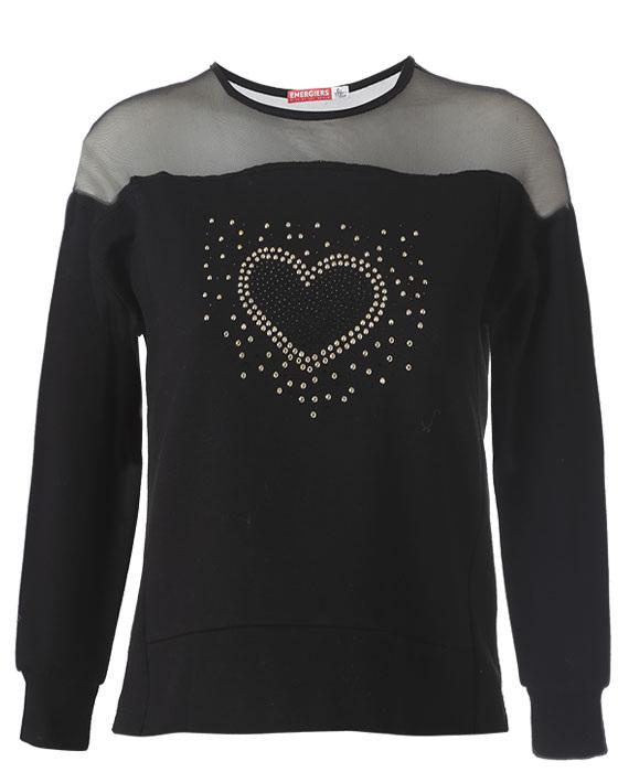 Μπλούζα με διακοσμητικά μεταλλάκια σε σχέδιο καρδιά 16-118253-5 - Μαύρο - 13130-10/12/1/106