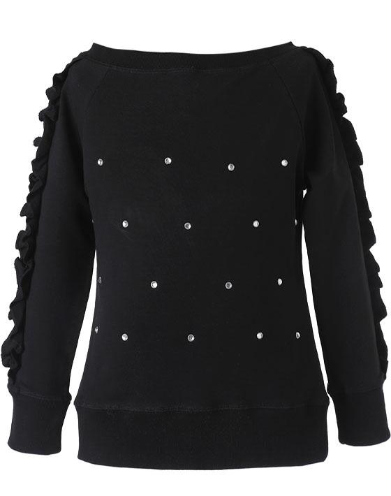 Μπλούζα με κρυστάλλινα στρας και βολάν στα μανίκια - αχνούδιαστο φούτερ 16-118207-5 - Μαύρο - 13139-10/12/1/106
