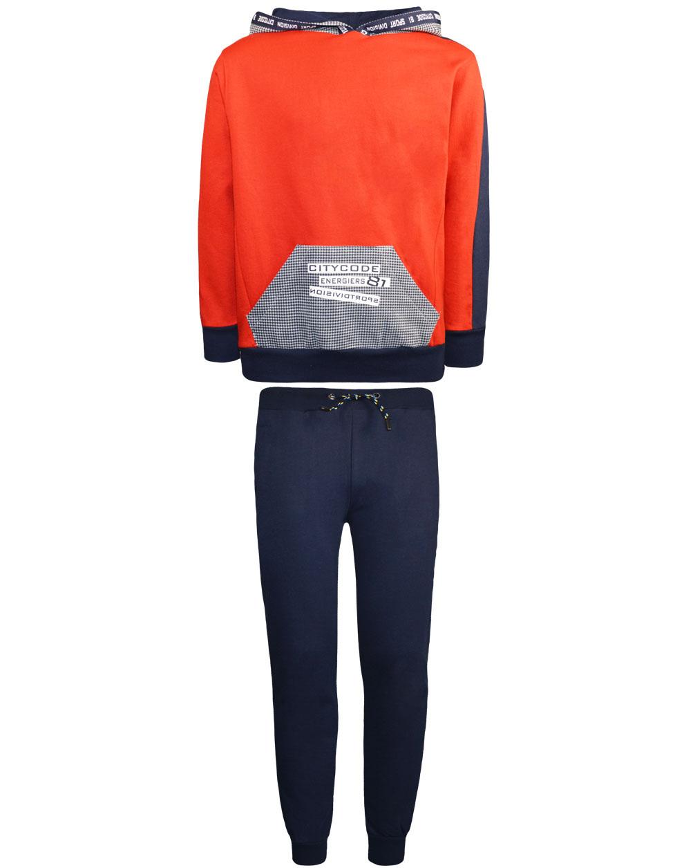 Φόρμα μπλούζα με tape στην κουκούλα και παντελόνι με τυπωμένη tape στο πλάι 13-120046-0 - ΜΑΡΕΝ - 17884-1/12/292/106