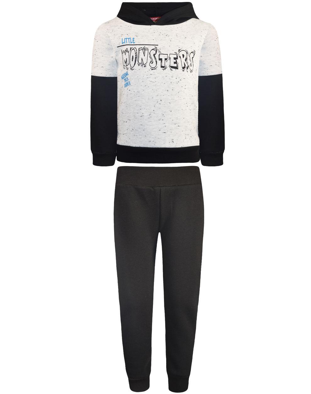Φόρμα παντελόνι και μπλούζα με κουκούλα και τύπωμα> 12-120110-0 - Μαύρο - 18720-10/12/1/109