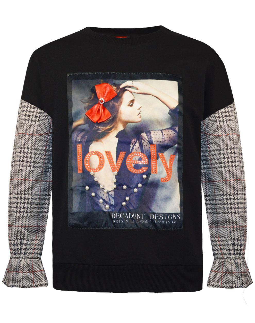 Μπλούζα με διακοσμητικό σατέν φιόγκο, στρας και πέρλες 16-120233-5 - Μαύρο - 18384-10/12/1/106