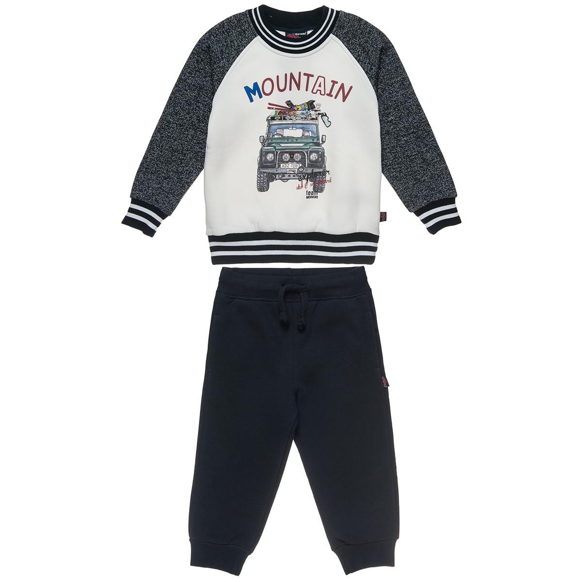 Σετ Φόρμας Moovers μπλούζα δίχρωμη με τύπωμα και παντελόνι με λάστιχο (Αγόρι 2-5 ετών) 00230493 - Εκρού - 4592-0001/3/158/102