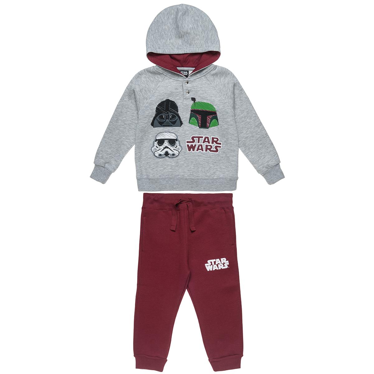 Σετ Φόρμας Star Wars μπλούζα με κουκούλα μελανζέ και παντελόνι με λάστιχο (Αγόρι 2-5 ετών) 00330401 - ΓΚΡΙ ΜΕΛΑΝΖΕ - 3887-0208/3/234/102