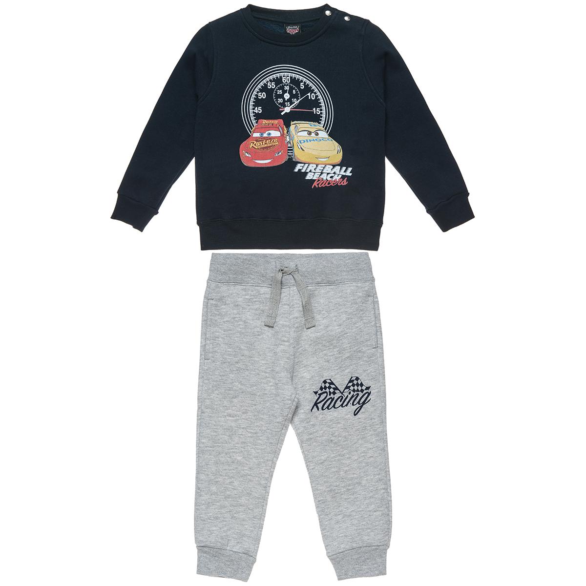 Σετ Φόρμας Disney Cars μπλούζα με τύπωμα και παντελόνι μελανζέ με λάστιχο (Αγόρι 2-6 ετών) 00330417 - Μπλε - 3982-0002/3/10/102