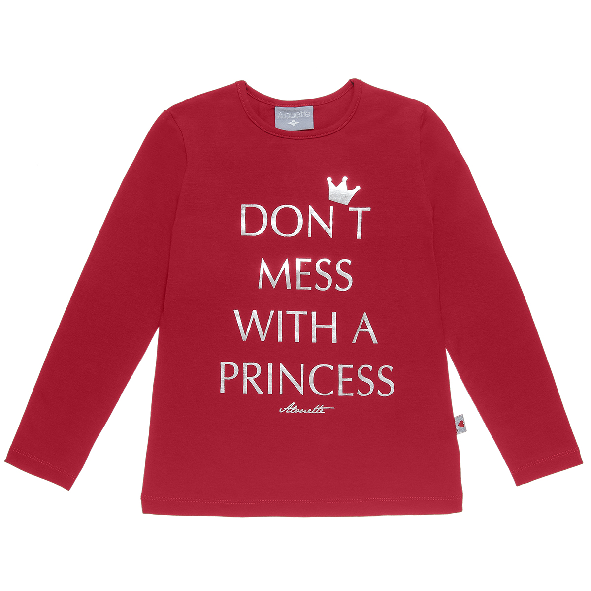 Μπλούζα με μεταλλιζέ lettering τύπωμα (Κορίτσι 6-16 ετών) 00922338 - Κόκκινο - 3730-0166/3/19/115