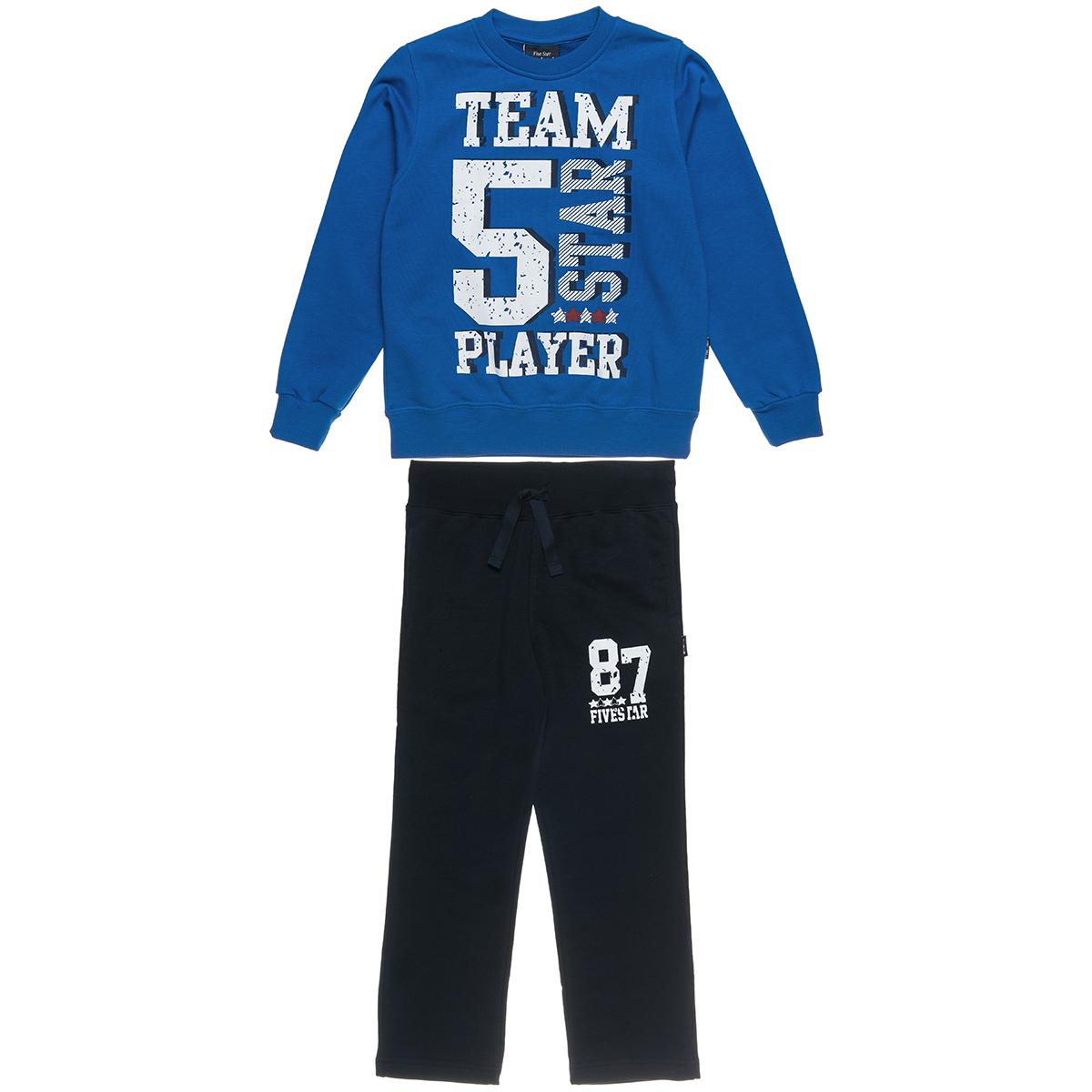 Σετ φόρμας Five Star μπλούζα με λάστιχο στα μανίκια και παντελόνι με τύπωμα (Αγόρι 6-14 ετών) 00930625 - ΡΑΦ ΕΛΕΚΤΡΙΚ - 3101-0170/3/229/111