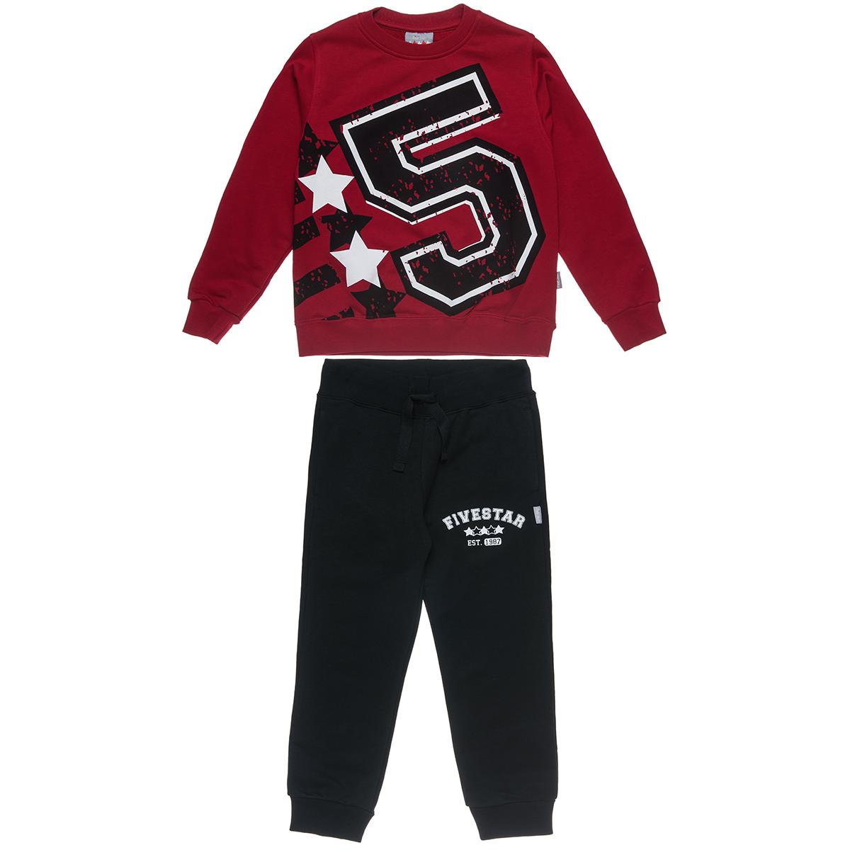 Σετ Φόρμας Five Star μπλούζα με τύπωμα με κουμπιά και παντελόνι με λάστιχο (Αγόρι 6-14 ετών) 00930626 - Κόκκινο - 3102-0166/3/19/116
