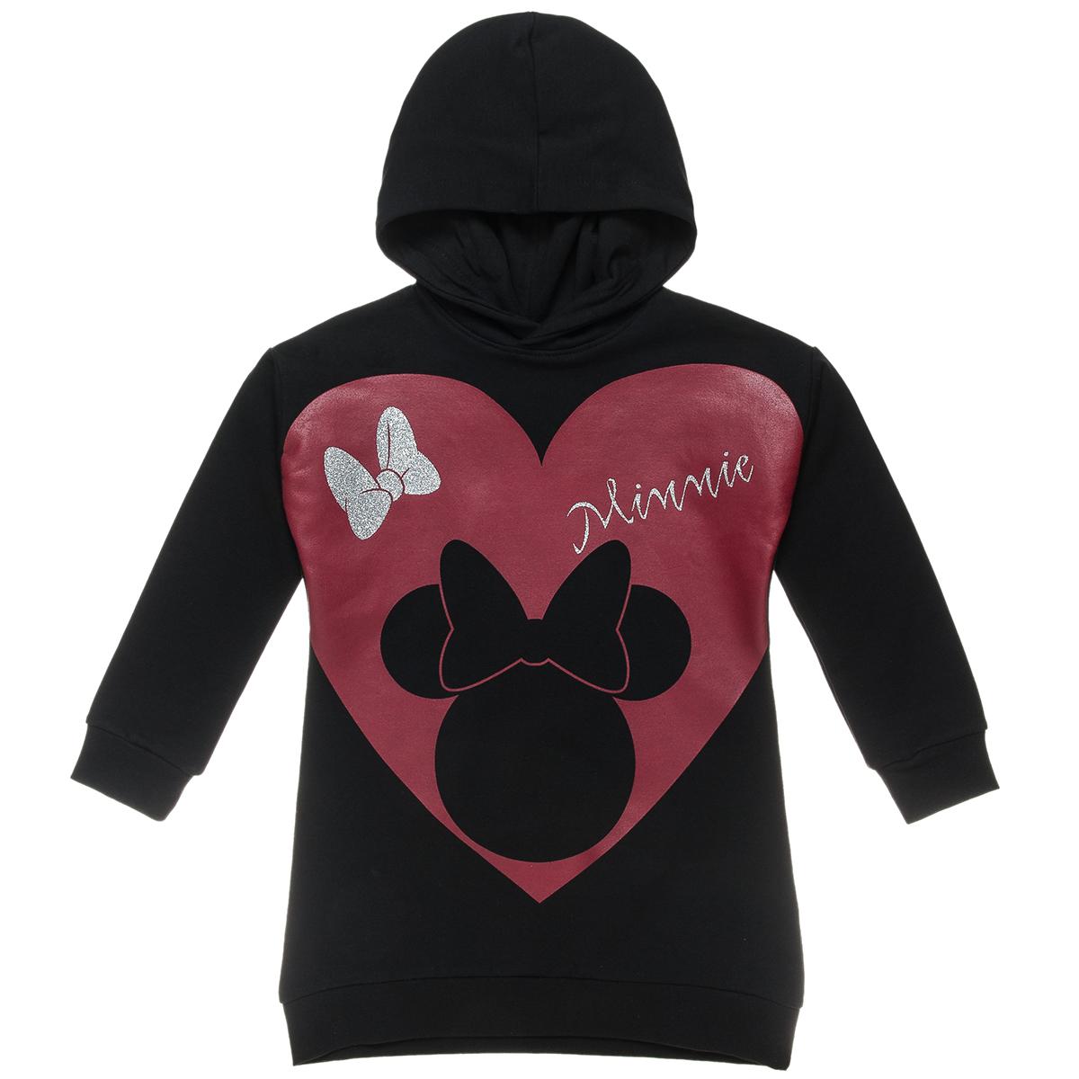 Φόρεμα φούτερ Disney με κουκούλα και τύπωμα Minnie Mouse (Κορίτσι 4-10 ετών) 00140186 - Μαύρο - 4613-0013/3/1/104