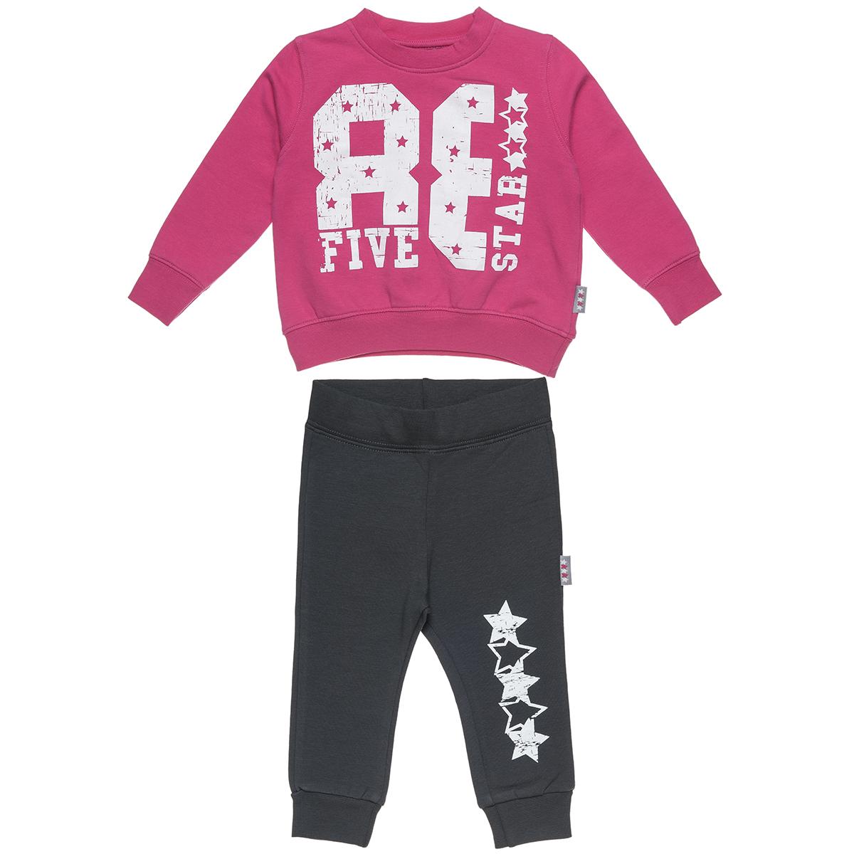 Σετ Φόρμας Five Star μπλούζα φούτερ με τύπωμα και παντελόνι με λάστιχο (Κορίτσι 9 μηνών-5 ετών) 00230549 - Φούξια - 5463-0174/3/26/173