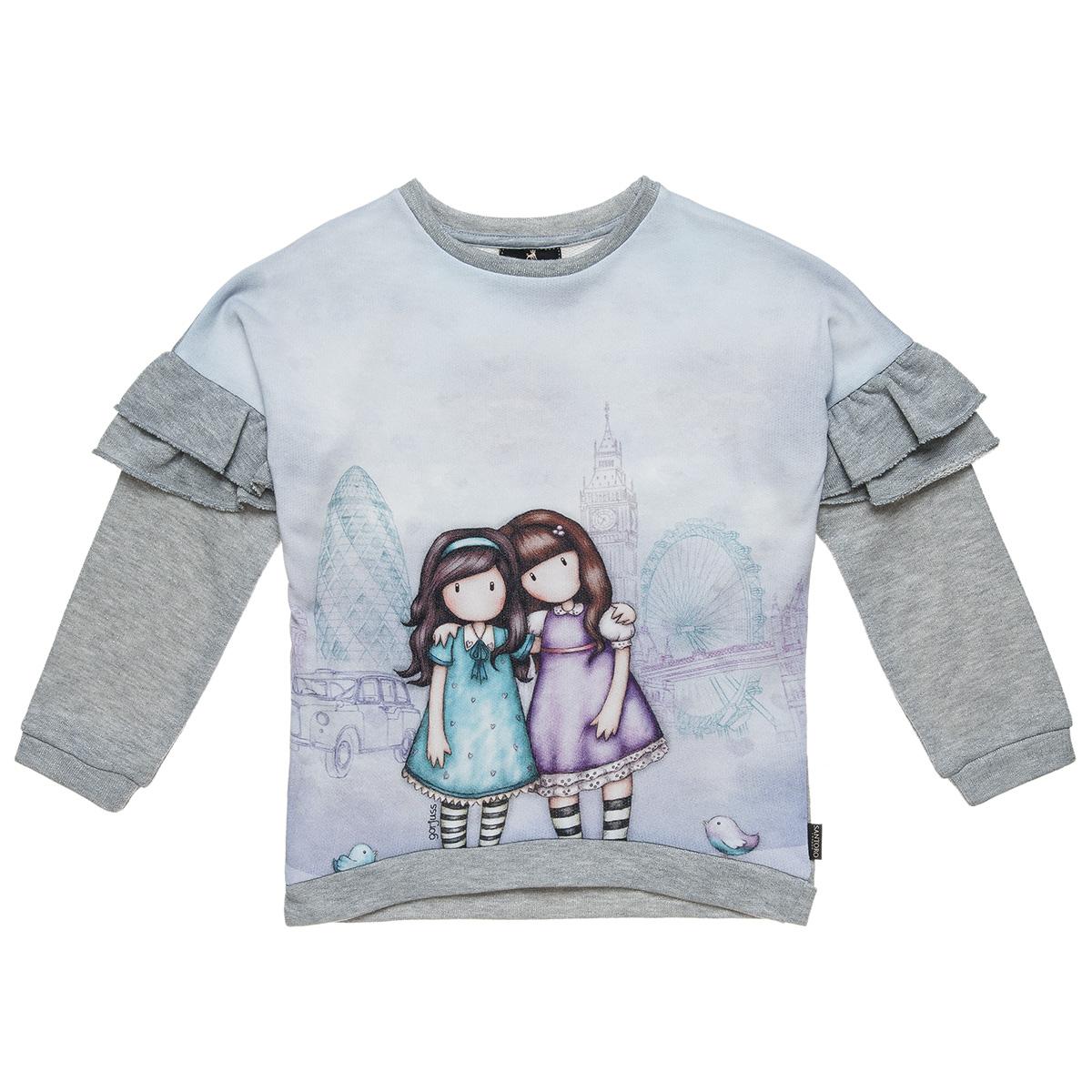 4f41eae8101 Μπλούζα Santoro με τύπωμα και βολάν (Κορίτσι 6-14 ετών) 00121357 - ΓΚΡΙ